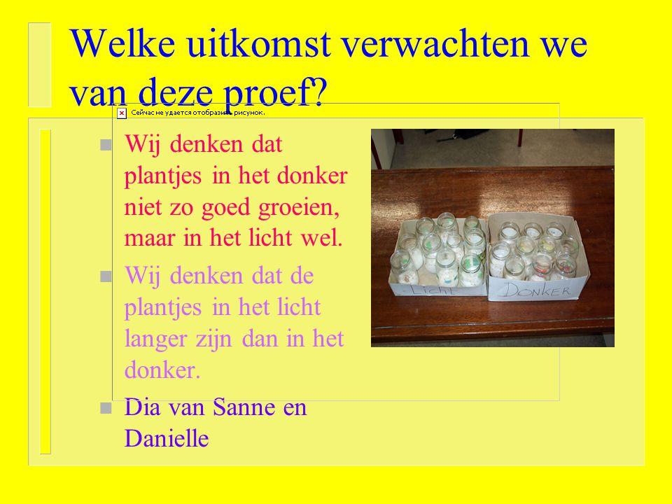 Wat willen we onderzoeken? Groeien planten in het donker net zo snel als in het licht??? donker licht Manon en Elleke!!
