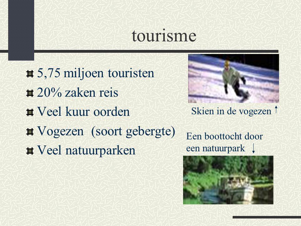 tourisme 5,75 miljoen touristen 20% zaken reis Veel kuur oorden Vogezen (soort gebergte) Veel natuurparken Skien in de vogezen Een boottocht door een natuurpark