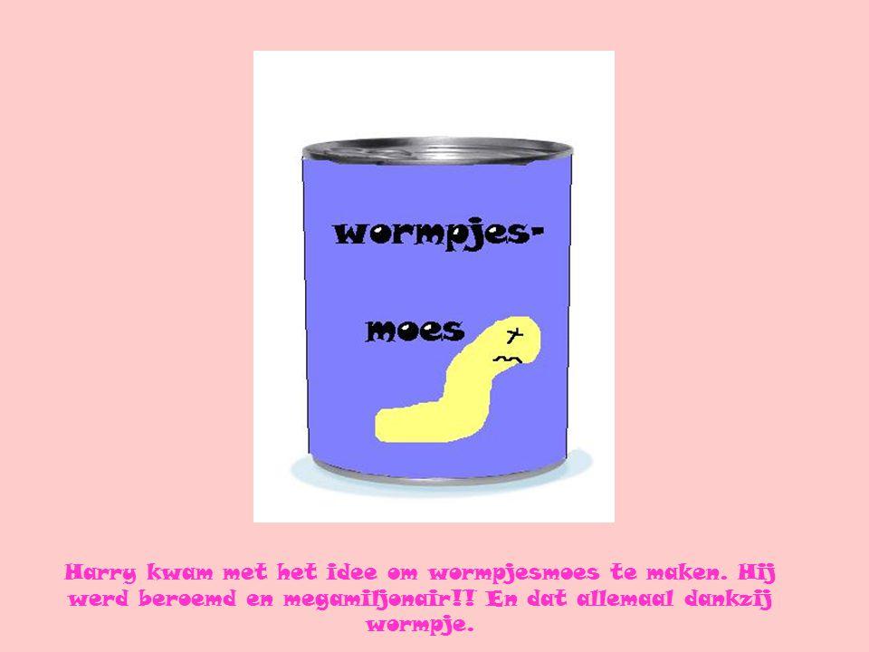Harry kwam met het idee om wormpjesmoes te maken. Hij werd beroemd en megamiljonair!! En dat allemaal dankzij wormpje.