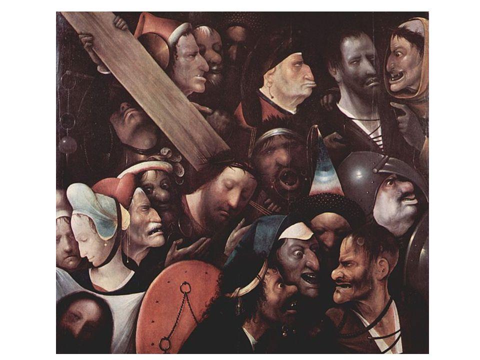 Jeroen Bosch: kruisdraging, MSK Gent.Links onder: Veronica met het zweetdoek van Christus.