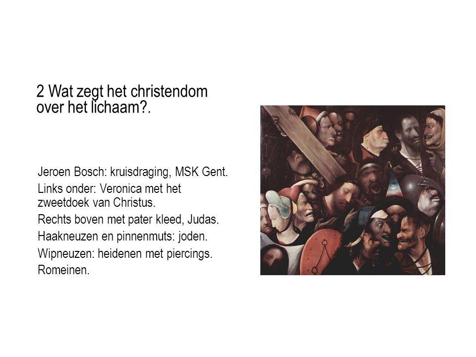 Jeroen Bosch: kruisdraging, MSK Gent. Links onder: Veronica met het zweetdoek van Christus.