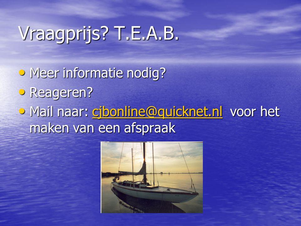 Vraagprijs.T.E.A.B. Meer informatie nodig. Meer informatie nodig.