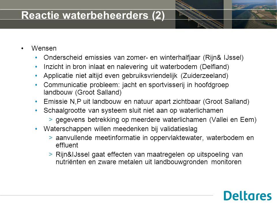 Reactie waterbeheerders (2) Wensen Onderscheid emissies van zomer- en winterhalfjaar (Rijn& IJssel) Inzicht in bron inlaat en nalevering uit waterbodem (Delfland) Applicatie niet altijd even gebruiksvriendelijk (Zuiderzeeland) Communicatie probleem: jacht en sportvisserij in hoofdgroep landbouw (Groot Salland) Emissie N,P uit landbouw en natuur apart zichtbaar (Groot Salland) Schaalgrootte van systeem sluit niet aan op waterlichamen >gegevens betrekking op meerdere waterlichamen (Vallei en Eem) Waterschappen willen meedenken bij validatieslag >aanvullende meetinformatie in oppervlaktewater, waterbodem en effluent >Rijn&IJssel gaat effecten van maatregelen op uitspoeling van nutriënten en zware metalen uit landbouwgronden monitoren