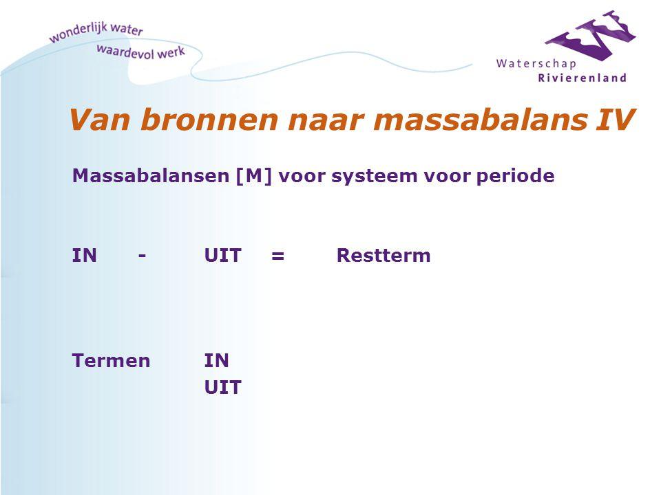 Van bronnen naar massabalans IV Massabalansen [M] voor systeem voor periode IN-UIT=Restterm TermenIN UIT