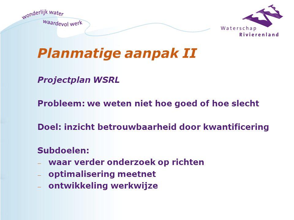 Planmatige aanpak II Projectplan WSRL Probleem: we weten niet hoe goed of hoe slecht Doel: inzicht betrouwbaarheid door kwantificering Subdoelen: — wa