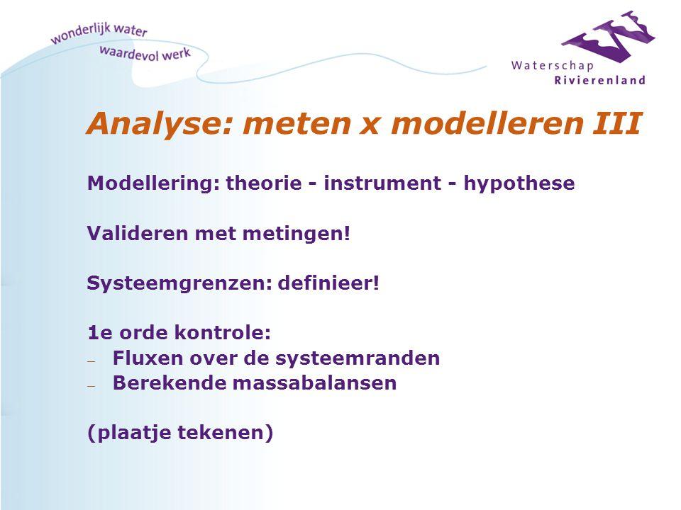 Analyse: meten x modelleren III Modellering: theorie - instrument - hypothese Valideren met metingen! Systeemgrenzen: definieer! 1e orde kontrole: — F