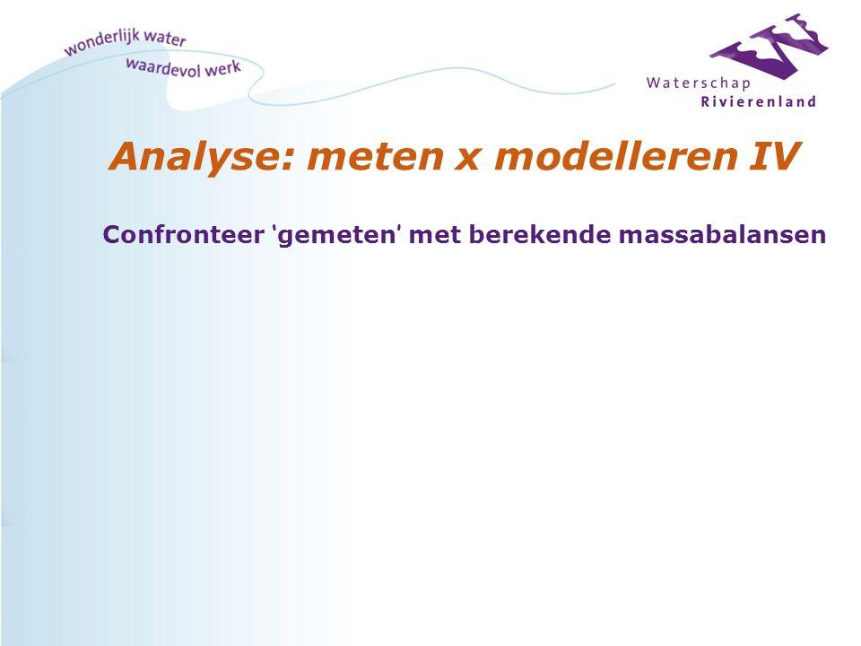 Analyse: meten x modelleren IV Confronteer ' gemeten ' met berekende massabalansen