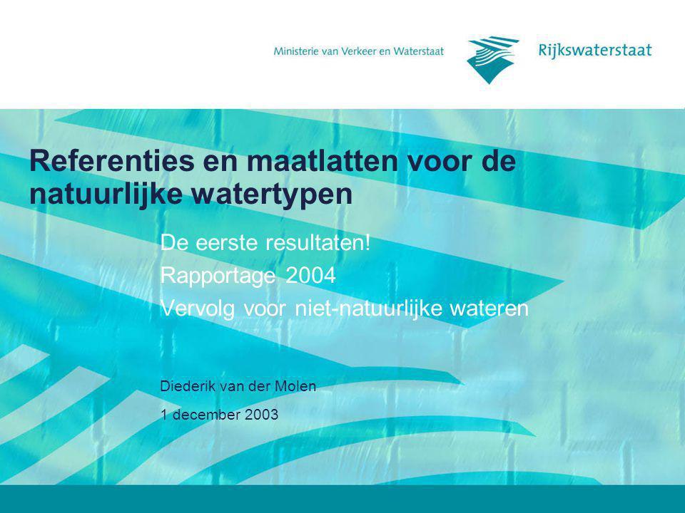 1 december 2003 Diederik van der Molen Referenties en maatlatten voor de natuurlijke watertypen De eerste resultaten! Rapportage 2004 Vervolg voor nie