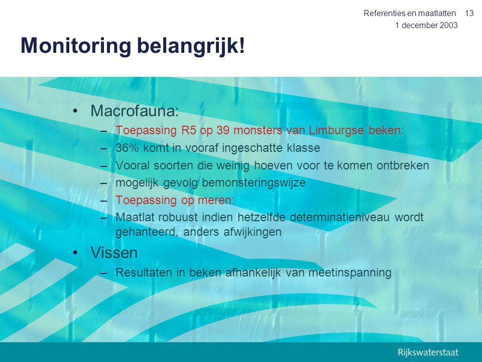 1 december 2003 Referenties en maatlatten13 Monitoring belangrijk! Macrofauna: –Toepassing R5 op 39 monsters van Limburgse beken: –36% komt in vooraf
