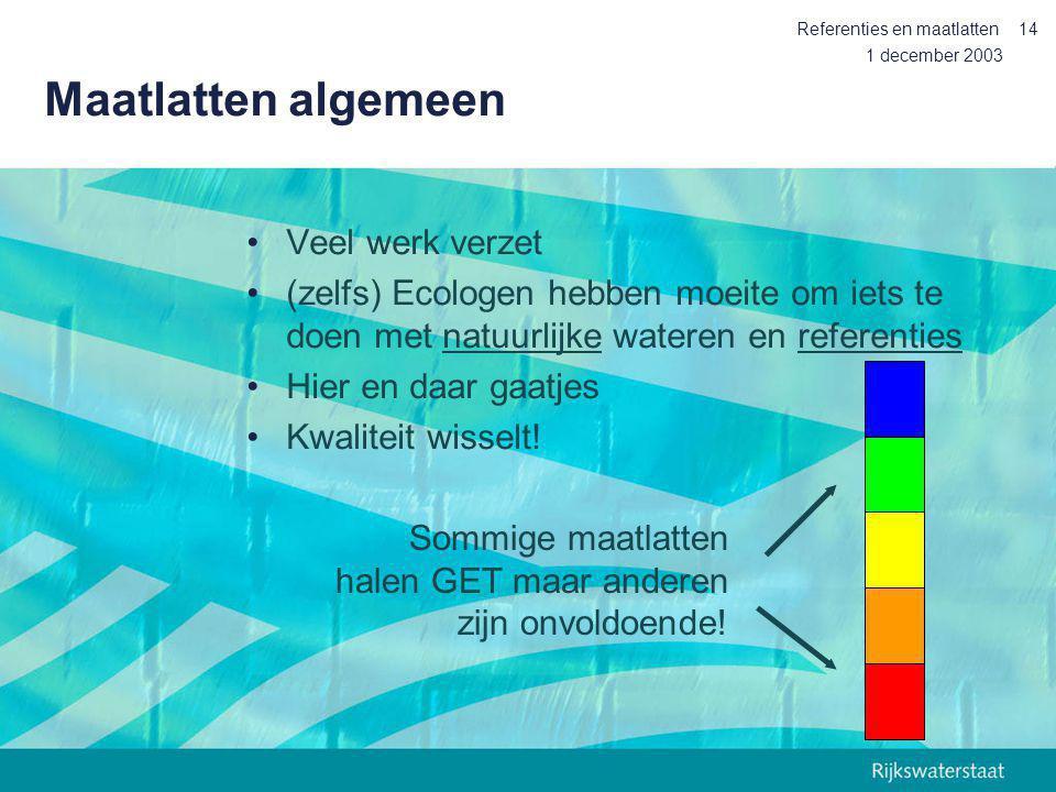 1 december 2003 Referenties en maatlatten14 Maatlatten algemeen Veel werk verzet (zelfs) Ecologen hebben moeite om iets te doen met natuurlijke watere
