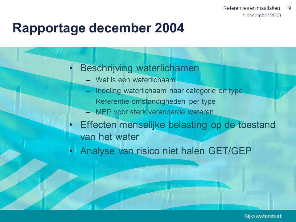 1 december 2003 Referenties en maatlatten19 Rapportage december 2004 Beschrijving waterlichamen –Wat is een waterlichaam –Indeling waterlichaam naar c
