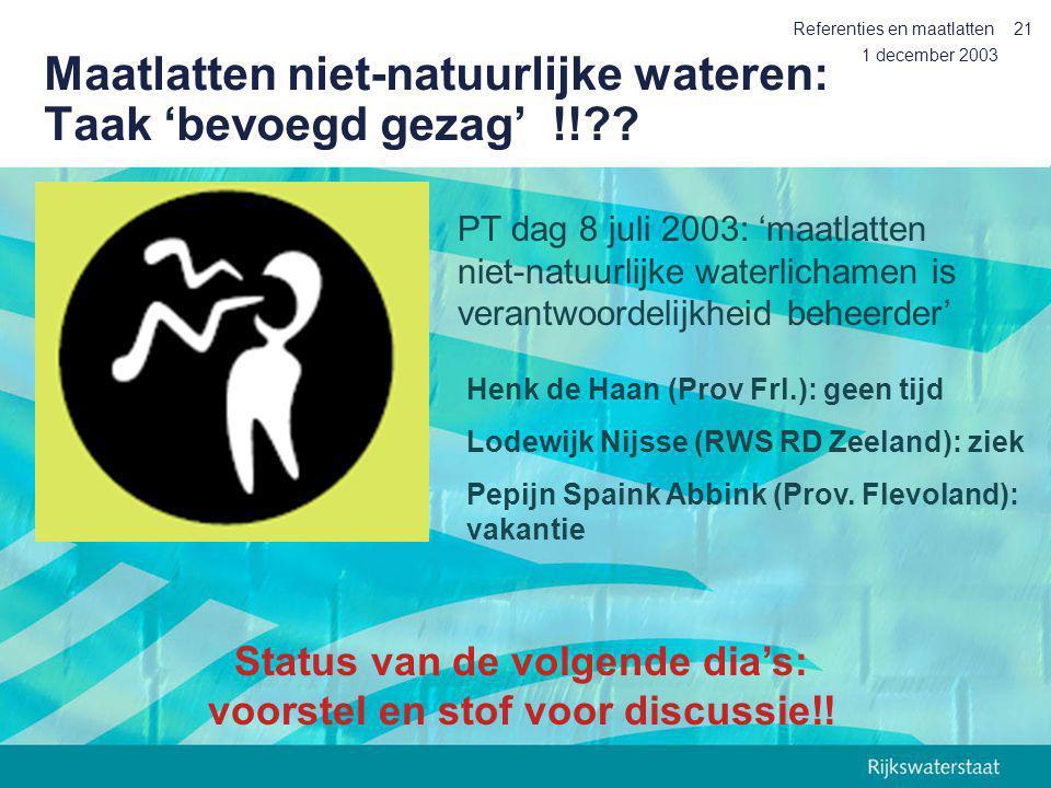 1 december 2003 Referenties en maatlatten21 Maatlatten niet-natuurlijke wateren: Taak 'bevoegd gezag' !!?? Henk de Haan (Prov Frl.): geen tijd Lodewij