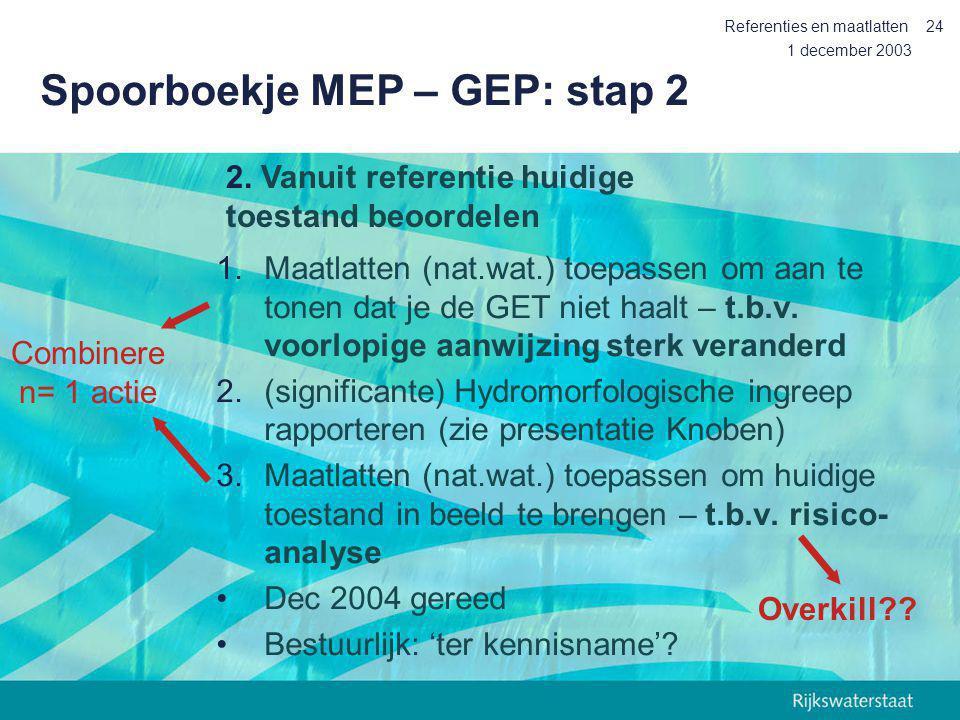 1 december 2003 Referenties en maatlatten24 Spoorboekje MEP – GEP: stap 2 1.Maatlatten (nat.wat.) toepassen om aan te tonen dat je de GET niet haalt –