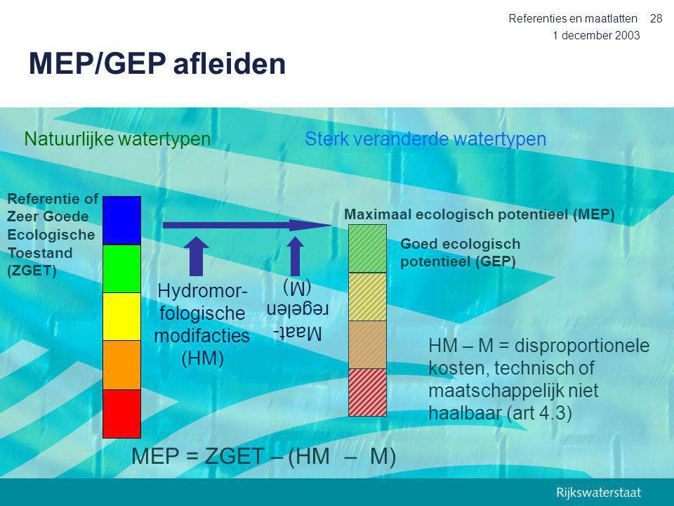 1 december 2003 Referenties en maatlatten28 Referentie of Zeer Goede Ecologische Toestand (ZGET) Natuurlijke watertypen MEP/GEP afleiden Maximaal ecol