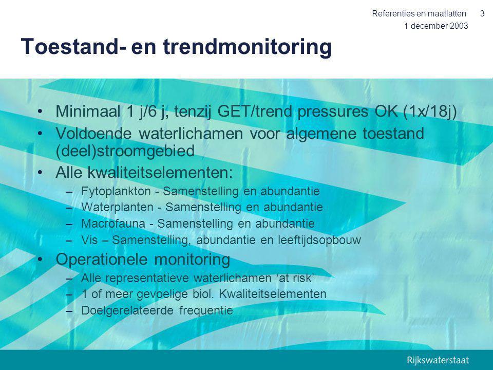 1 december 2003 Referenties en maatlatten3 Toestand- en trendmonitoring Minimaal 1 j/6 j, tenzij GET/trend pressures OK (1x/18j) Voldoende waterlicham