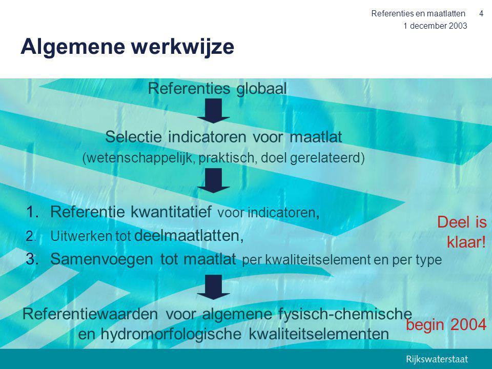 1 december 2003 Referenties en maatlatten4 Algemene werkwijze Referenties globaal Selectie indicatoren voor maatlat (wetenschappelijk, praktisch, doel