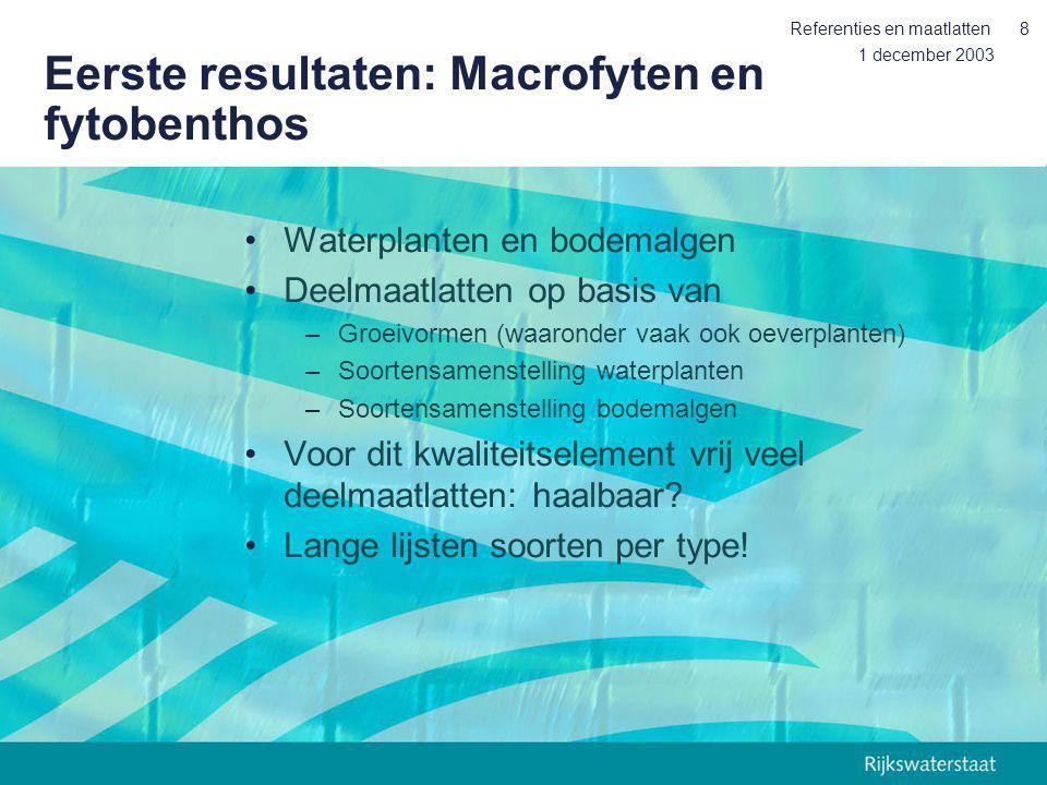 1 december 2003 Referenties en maatlatten8 Eerste resultaten: Macrofyten en fytobenthos Waterplanten en bodemalgen Deelmaatlatten op basis van –Groeiv
