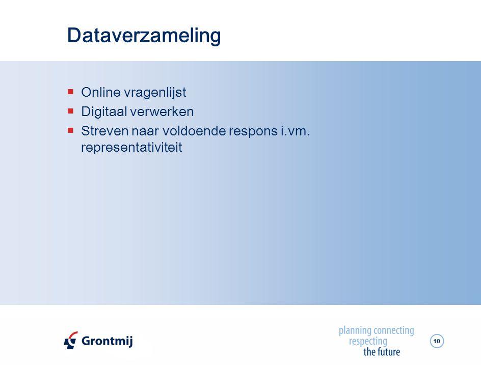 10 Dataverzameling  Online vragenlijst  Digitaal verwerken  Streven naar voldoende respons i.vm.