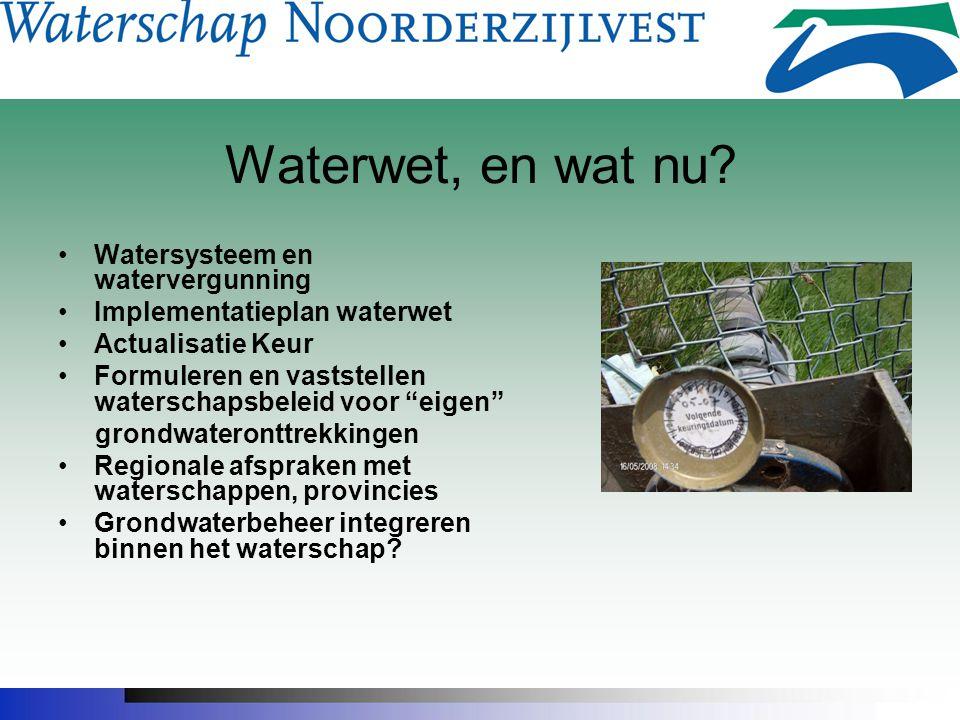 """Waterwet, en wat nu? Watersysteem en watervergunning Implementatieplan waterwet Actualisatie Keur Formuleren en vaststellen waterschapsbeleid voor """"ei"""