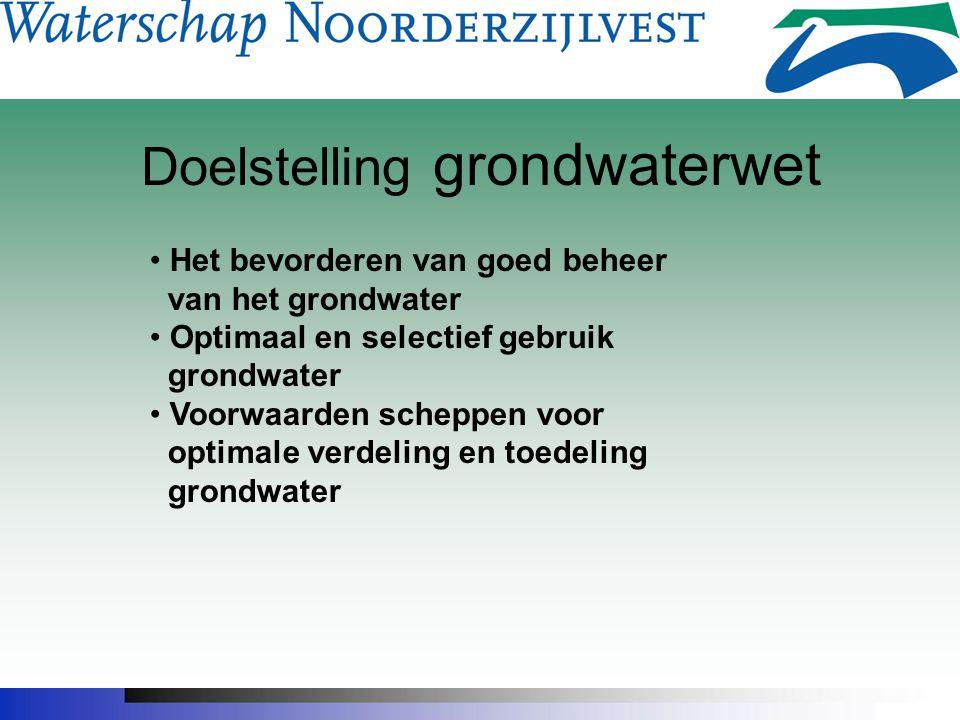 Doelstelling grondwaterwet Het bevorderen van goed beheer van het grondwater Optimaal en selectief gebruik grondwater Voorwaarden scheppen voor optimale verdeling en toedeling grondwater