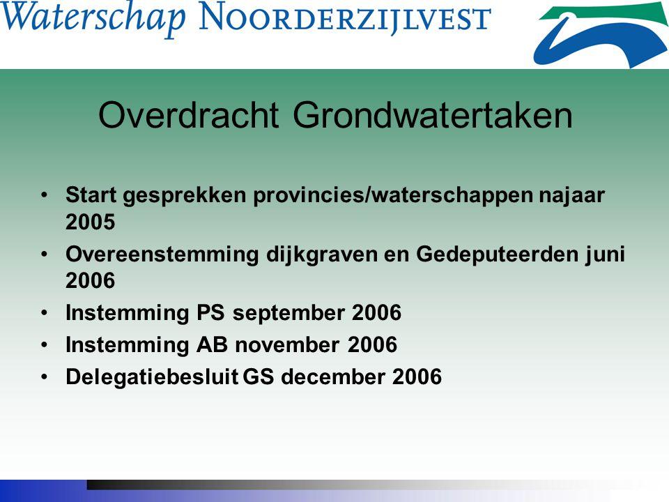Overdracht Grondwatertaken Start gesprekken provincies/waterschappen najaar 2005 Overeenstemming dijkgraven en Gedeputeerden juni 2006 Instemming PS s