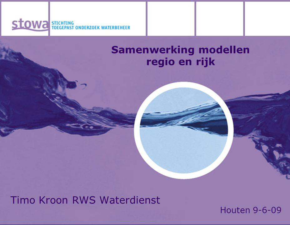 Timo Kroon RWS Waterdienst Houten 9-6-09 Samenwerking modellen regio en rijk