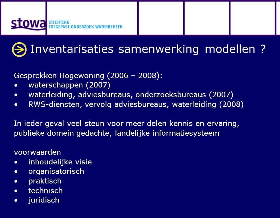 Inventarisaties samenwerking modellen ? Gesprekken Hogewoning (2006 – 2008): waterschappen (2007) waterleiding, adviesbureaus, onderzoeksbureaus (2007