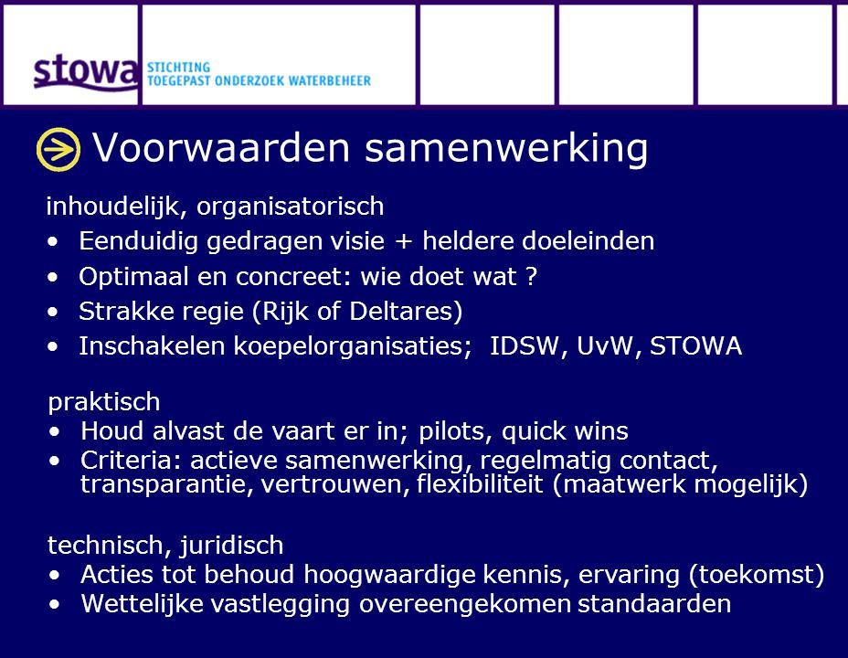 Voorwaarden samenwerking inhoudelijk, organisatorisch Eenduidig gedragen visie + heldere doeleinden Optimaal en concreet: wie doet wat ? Strakke regie