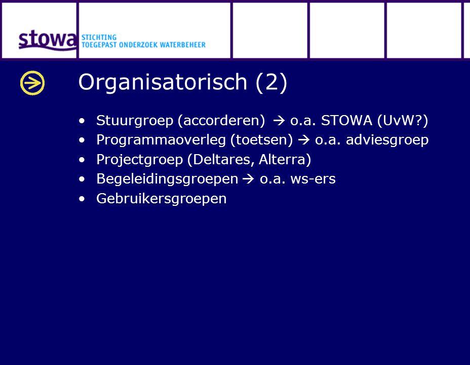 Organisatorisch (2) Stuurgroep (accorderen)  o.a. STOWA (UvW?) Programmaoverleg (toetsen)  o.a. adviesgroep Projectgroep (Deltares, Alterra) Begelei
