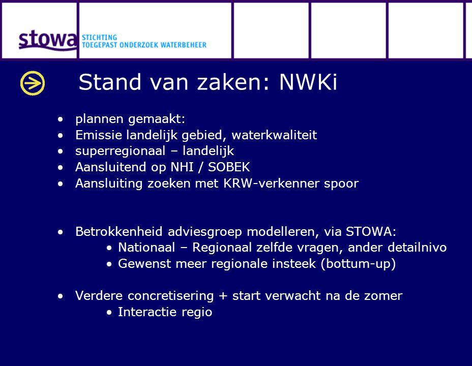 Stand van zaken: NWKi plannen gemaakt: Emissie landelijk gebied, waterkwaliteit superregionaal – landelijk Aansluitend op NHI / SOBEK Aansluiting zoek