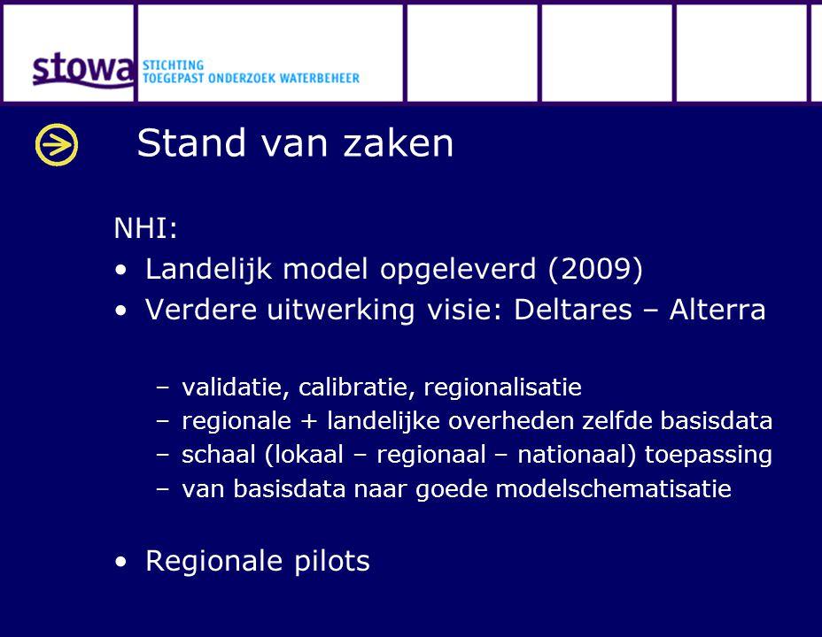 Stand van zaken NHI: Landelijk model opgeleverd (2009) Verdere uitwerking visie: Deltares – Alterra –validatie, calibratie, regionalisatie –regionale