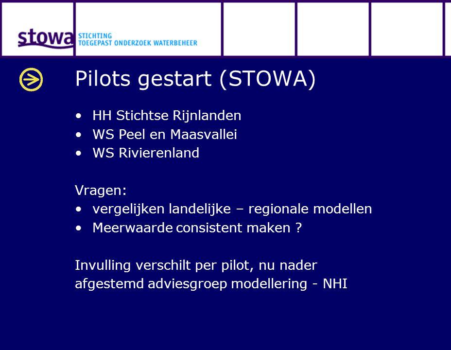 Pilots gestart (STOWA) HH Stichtse Rijnlanden WS Peel en Maasvallei WS Rivierenland Vragen: vergelijken landelijke – regionale modellen Meerwaarde con