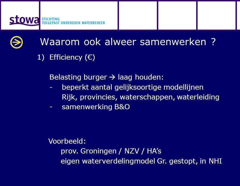 Waarom ook alweer samenwerken ? 1)Efficiency (€) Belasting burger  laag houden: -beperkt aantal gelijksoortige modellijnen Rijk, provincies, watersch