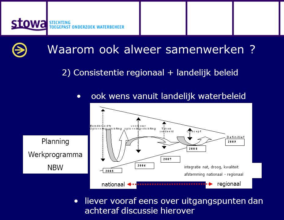 Waarom ook alweer samenwerken ? 2) Consistentie regionaal + landelijk beleid ook wens vanuit landelijk waterbeleid nationaal regionaal integratie nat,