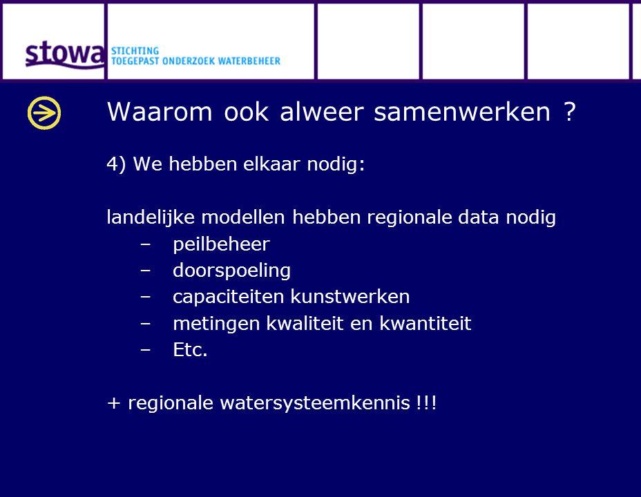 Waarom ook alweer samenwerken ? 4) We hebben elkaar nodig: landelijke modellen hebben regionale data nodig –peilbeheer –doorspoeling –capaciteiten kun