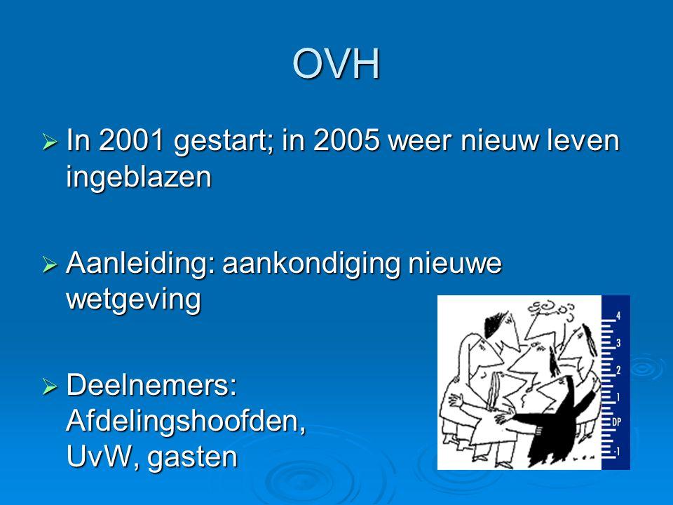 OVH  In 2001 gestart; in 2005 weer nieuw leven ingeblazen  Aanleiding: aankondiging nieuwe wetgeving  Deelnemers: Afdelingshoofden, UvW, gasten