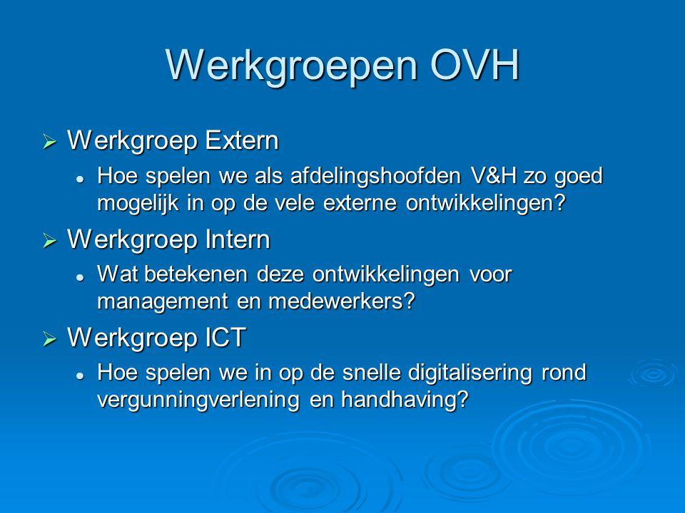 Werkgroepen OVH  Werkgroep Extern Hoe spelen we als afdelingshoofden V&H zo goed mogelijk in op de vele externe ontwikkelingen? Hoe spelen we als afd