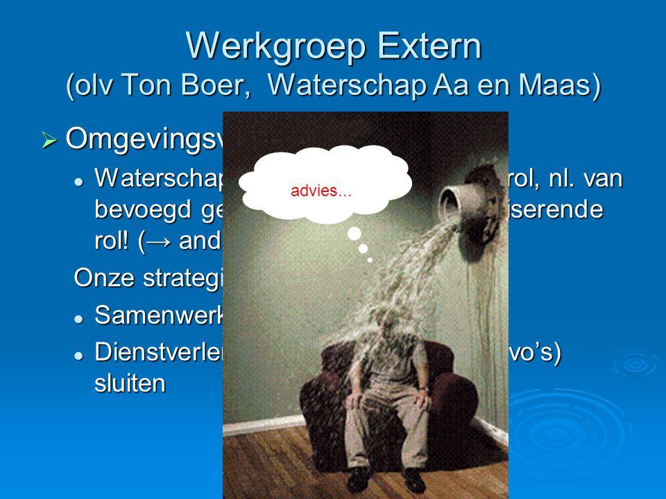 Werkgroep Extern (olv Ton Boer, Waterschap Aa en Maas)  Omgevingsvergunning: Waterschappen krijgen een andere rol, nl. van bevoegd gezag naar alleen