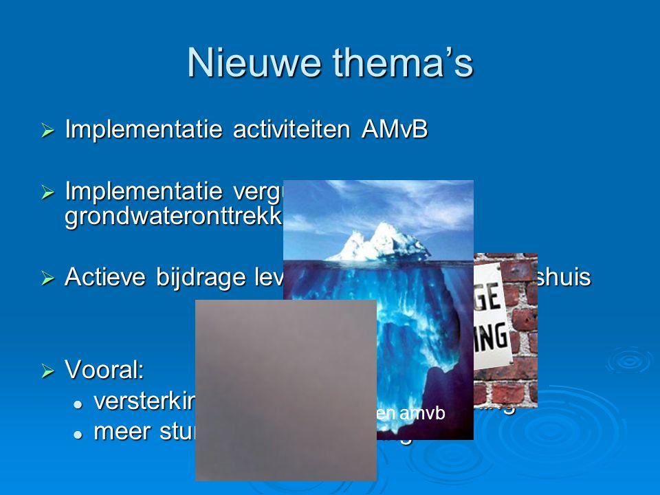 Nieuwe thema's  Implementatie activiteiten AMvB  Implementatie vergunningverlening grondwateronttrekkingen  Actieve bijdrage leveren aan Waterschap