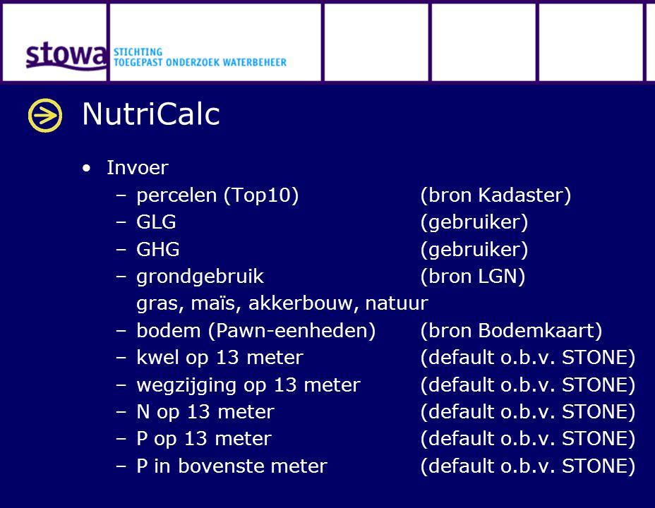 NutriCalc Invoer –percelen (Top10) (bron Kadaster) –GLG (gebruiker) –GHG(gebruiker) –grondgebruik (bron LGN) gras, maïs, akkerbouw, natuur –bodem (Pawn-eenheden) (bron Bodemkaart) –kwel op 13 meter (default o.b.v.