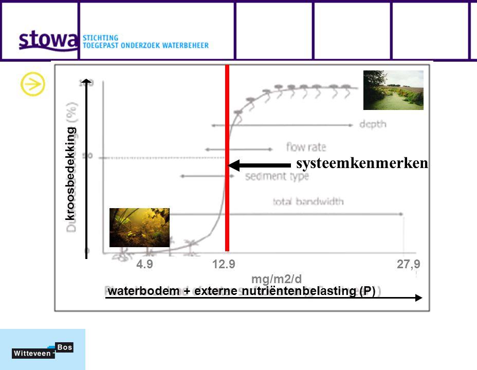 Kritische P-belasting afleiden systeemkenmerken waterbodem + externe nutriëntenbelasting (P) kroosbedekking 4.9 12.9 27,9 mg/m2/d