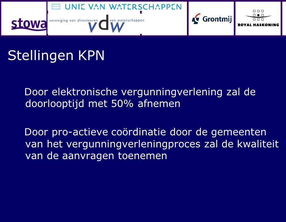 Stellingen KPN Door elektronische vergunningverlening zal de doorlooptijd met 50% afnemen Door pro-actieve coördinatie door de gemeenten van het vergu