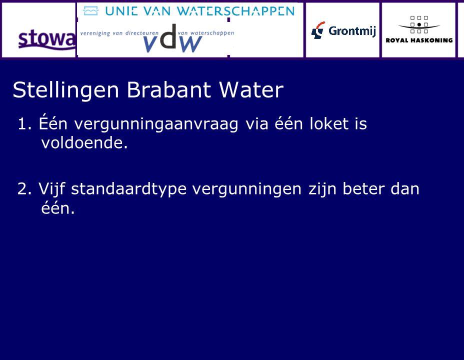 Stellingen Brabant Water 1. Één vergunningaanvraag via één loket is voldoende. 2. Vijf standaardtype vergunningen zijn beter dan één.