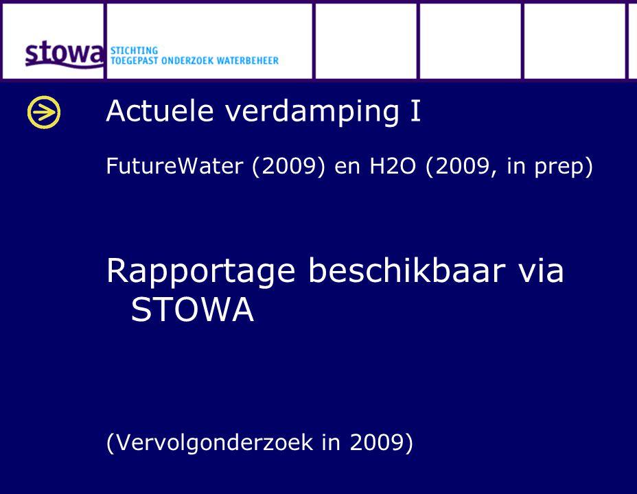 Actuele verdamping I FutureWater (2009) en H2O (2009, in prep) Rapportage beschikbaar via STOWA (Vervolgonderzoek in 2009)