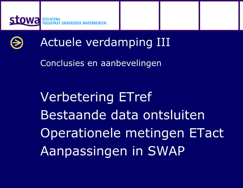 Actuele verdamping III Conclusies en aanbevelingen Verbetering ETref Bestaande data ontsluiten Operationele metingen ETact Aanpassingen in SWAP
