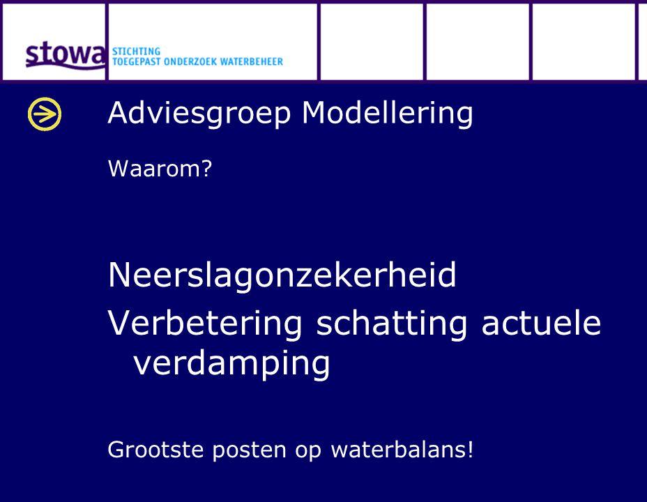 Adviesgroep Modellering Waarom? Neerslagonzekerheid Verbetering schatting actuele verdamping Grootste posten op waterbalans!
