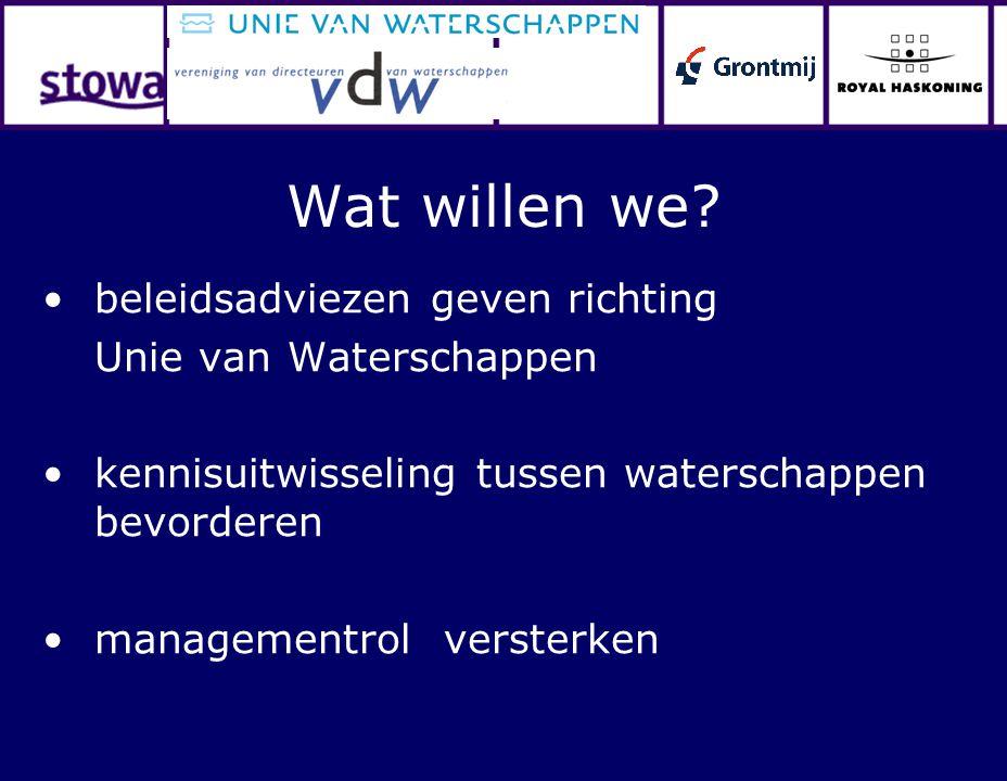 Wat willen we? beleidsadviezen geven richting Unie van Waterschappen kennisuitwisseling tussen waterschappen bevorderen managementrol versterken