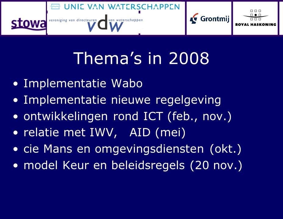 Thema's in 2008 Implementatie Wabo Implementatie nieuwe regelgeving ontwikkelingen rond ICT (feb., nov.) relatie met IWV, AID (mei) cie Mans en omgevi