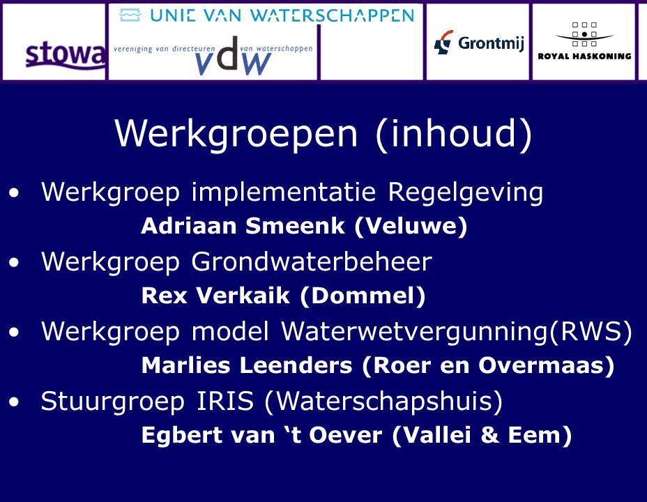 Werkgroep implementatie Regelgeving Adriaan Smeenk (Veluwe) Werkgroep Grondwaterbeheer Rex Verkaik (Dommel) Werkgroep model Waterwetvergunning(RWS) Ma