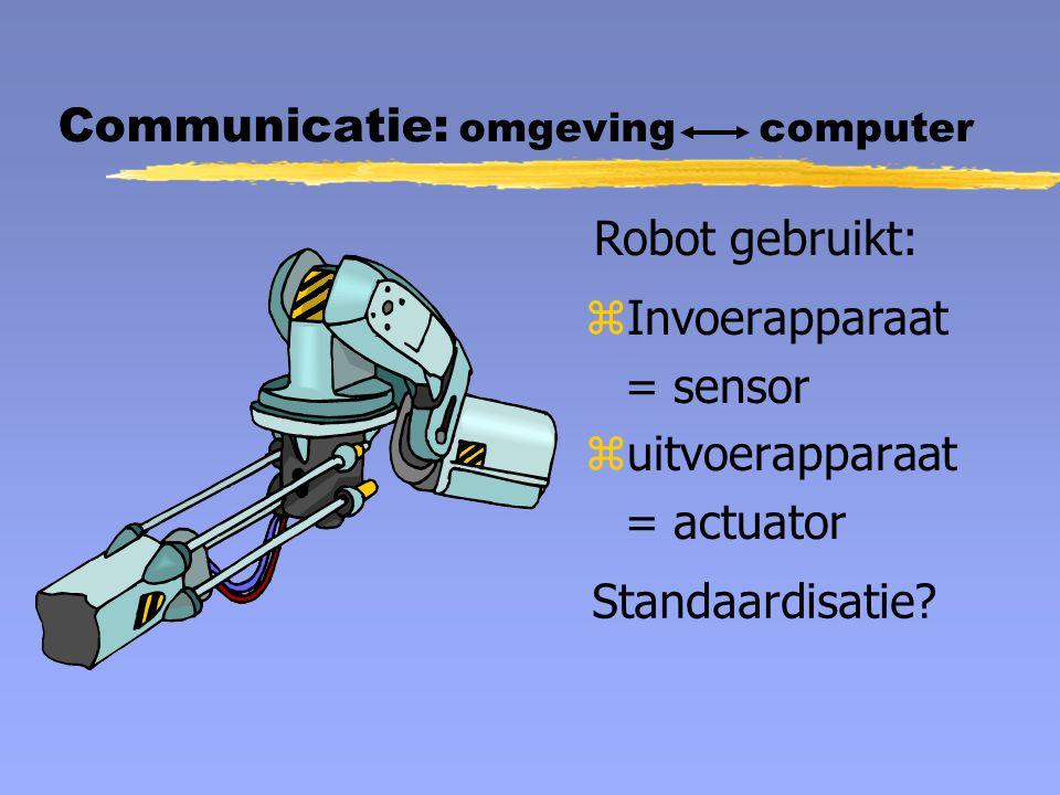 zInvoerapparaat = sensor zuitvoerapparaat = actuator Communicatie: omgeving computer Robot gebruikt: Standaardisatie
